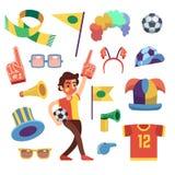 Divertimenti di sport di calcio con gli strumenti per incoraggiare vittoria del gruppo Insieme di vettore del fumetto illustrazione vettoriale