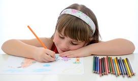 Divertimento con i pastelli colorati Fotografie Stock Libere da Diritti