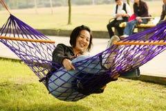 Divertimento con il hammock 1 Immagini Stock