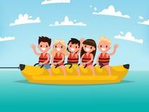 Divertimento da água do verão Passeio das crianças em um barco de banana Illustr do vetor ilustração do vetor