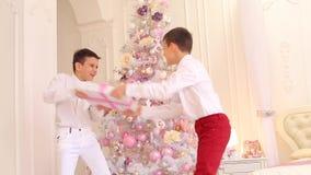 Divertimento da fritada das crianças e da luta dos irmãos para o presente do ` s do ano novo no quarto com árvore de Natal vídeos de arquivo