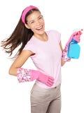 Divertimento da mulher da limpeza da primavera isolado Imagem de Stock Royalty Free