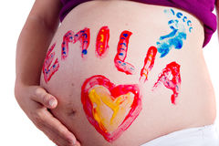 Divertimento da pintura com gravidez Imagens de Stock Royalty Free