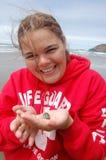 Divertimento da praia - caranguejo da areia Fotografia de Stock Royalty Free