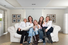 Divertimento das meninas da família Fotografia de Stock