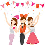 Divertimento della donna nel partito con le bevande, canto, dancing, bevente illustrazione vettoriale