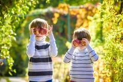 Divertimento della famiglia durante il tempo di raccolto su un'azienda agricola Bambini che giocano nel giardino di autunno immagini stock
