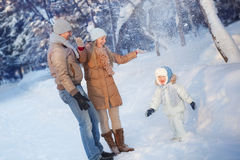Divertimento della famiglia in un inverno Fotografia Stock Libera da Diritti