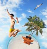 Divertimento della spiaggia di estate Fotografia Stock