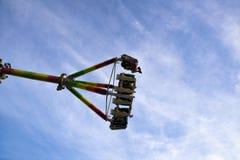 Divertimento dentro no roller coaster na Luna Park fotografia de stock