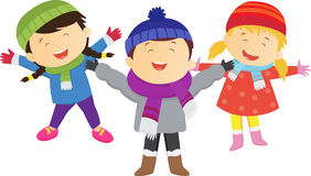 Divertimento di inverno bambini felici che portano il costume di inverno Su bianco royalty illustrazione gratis