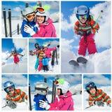 Divertimento di inverno di corsa con gli sci. Famiglia felice Fotografia Stock