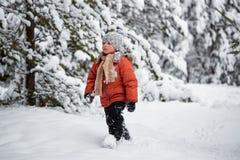 Divertimento di inverno il ragazzo da solo vaga attraverso la foresta nevosa dell'inverno Fotografia Stock