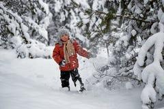Divertimento di inverno il ragazzo da solo vaga attraverso la foresta nevosa dell'inverno Fotografie Stock