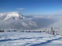 Divertimento do esqui em cumes do francês das montanhas Fotos de Stock Royalty Free