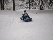 Divertimento do inverno com um pequeno trenó Foto de Stock Royalty Free