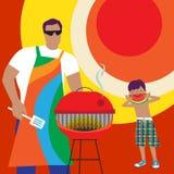 Divertimento do verão com paizinho ilustração stock