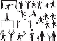 Divertimento dos povos do pictograma e atividade do esporte Fotografia de Stock Royalty Free
