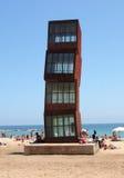 Divertimento em torno do cubo do chifre de Barceloneta Imagens de Stock