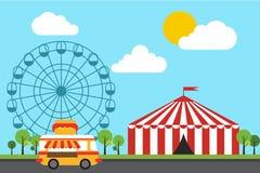Divertimento, ilustração lisa do projeto do parque temático Fotos de Stock Royalty Free