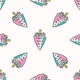 Divertimento Memphis Strawberry Pattern, illustrazione senza cuciture del fondo di vettore illustrazione di stock