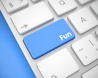 Divertimento - messaggio sul bottone blu della tastiera 3d Fotografie Stock Libere da Diritti