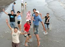 Divertimento na praia Imagem de Stock