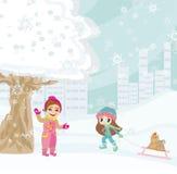 Divertimento no dia de inverno Imagem de Stock
