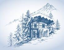 Divertimento Ski Hut ilustração do vetor