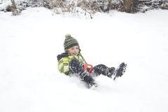 Divertimento Sledding di inverno Fotografie Stock