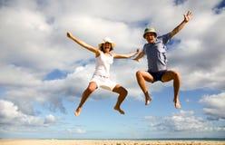 Divertimento sulla spiaggia, come il livello è amore Fotografie Stock