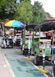 Divertimento TAILANDESE dell'aria aperta delle tre-ruote tradizionali e taxi di urbano ben noto e di BANGKOK Immagine Stock Libera da Diritti