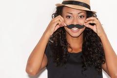 Divertirse con el bigote de la cara. Imagenes de archivo