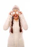 Divertirse en la ropa caliente del invierno Imágenes de archivo libres de regalías