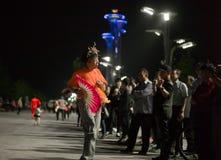 Divertissement civil de Pékin dans le village de Jeux Olympiques photos libres de droits