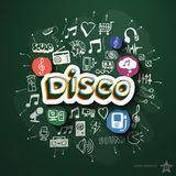 Divertissement et collage de musique avec des icônes dessus Images libres de droits