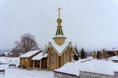 Diveyevo,俄罗斯 - 12月25日 2016年 以纪念上帝的母亲的喀山象的来源 库存照片