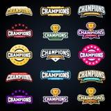 Diviértase al campeón o defiende el sistema de la tipografía del emblema de la liga ilustración del vector