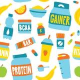 Diviértase el fondo inconsútil del modelo del vector de la nutrición de la comida en blanco Imágenes de archivo libres de regalías