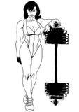Diviértase a la muchacha en un traje de baño con un barbell Imagen de archivo