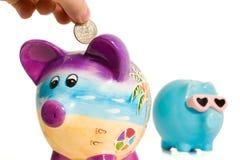 Divida no banco Piggy Foto de Stock