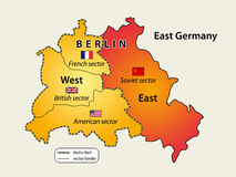 Divided Berlin. During Cold War. Map of Berlin wall (1961 - 1989 stock illustration