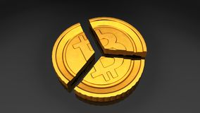Divided Bitcoin royalty free stock photos