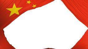 Divided China flag. White background, 3d rendering stock illustration