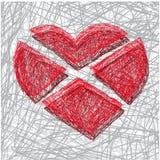 Divided heart. Vector illustration of a broken heart Stock Photo