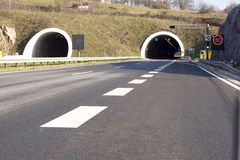 Divided highway and tunnel Stock Photo