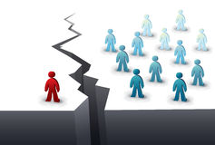 Divided from the others. One person is separated from the team by a chasm Stock Image