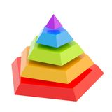 Divided into segments pyramid. Pyramid divided into five colorful segment layers, isolated over the white background Stock Image