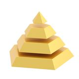 Divided into segments pyramid. Pyramid divided into four golden segment layers, isolated over the white background Royalty Free Stock Photos