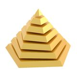 Divided into segments pyramid. Golden pyramid divided into seven segment layers, isolated over the white background Stock Photography
